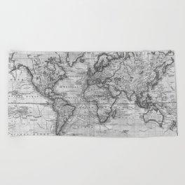 Black and White World Map (1801) Beach Towel