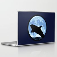 onesie Laptop & iPad Skins featuring Dolphin bubbly in the moonlight by kamonkey
