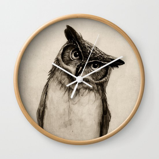 Owl Sketch Wall Clock