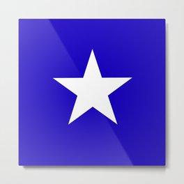 white star on blue background Metal Print