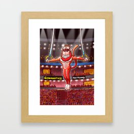 Olympic Flying Rings Monkey Framed Art Print