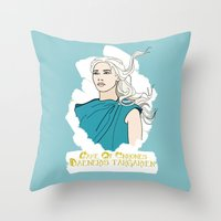 daenerys Throw Pillows featuring Danny by JessicaJaneIllustration