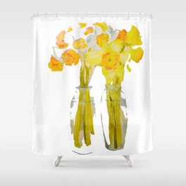 Daffodils watercolor Shower Curtain