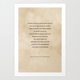Ralph Waldo Emerson Quote 01 - Typewriter Quote On Old Paper - Literary Poster - Book Lover Gifts Art Print