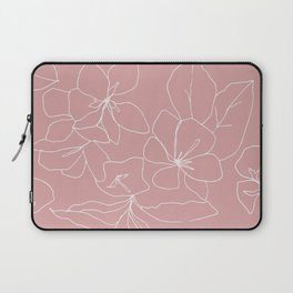 Floral Drawing on Pale Pink Laptop Sleeve