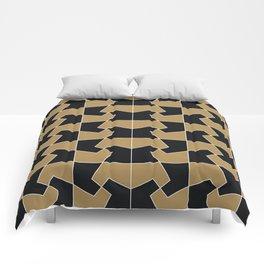 Abstract hexagon periodic tessellation pattern gamboge black Comforters