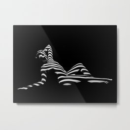 0381-PDJ Zebra Striped Black White Nude Reclining Metal Print