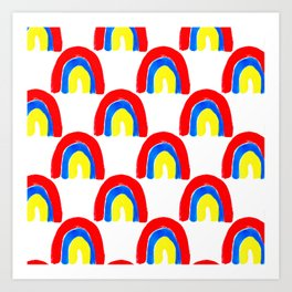 Watercolor Primary Rainbows Repeat Art Print