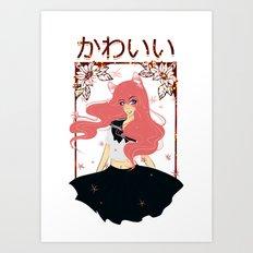 Kawaii Neko Anime Girl Art Print