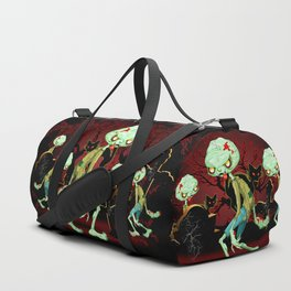 Zombie Creepy Monster Cartoon on Cemetery Duffle Bag