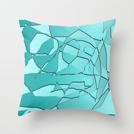 Shattered Teal Throw Pillow
