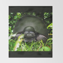 Slow Commando - Army Turtle Throw Blanket