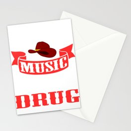 """Is Music is Your Drug? Then This Is The Perfect T-shirt For You Saying """"Country  Music Is My Drug"""" Stationery Cards"""