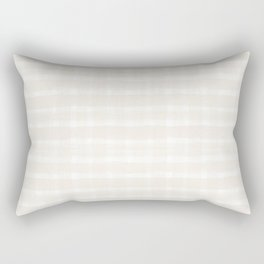 Creamy Off White SW7012 Watercolor Brushstroke Plaid Pattern on White Rectangular Pillow