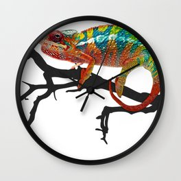 Chameleon Body Reptilia Multicolor Curled Tail Black Wood Wall Clock