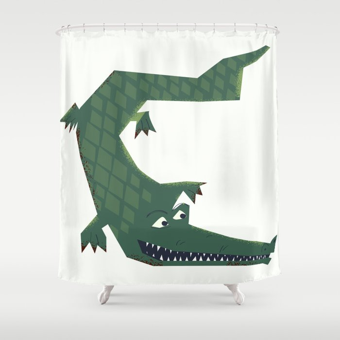 Snapping Vintage Alligator Shower, Alligator Shower Curtain