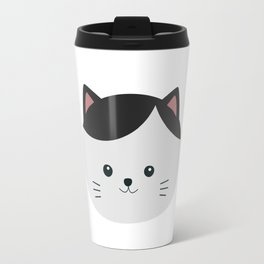 Cat with white fur and black hair Travel Mug