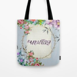 #Amwriting Floral Quote Tote Bag