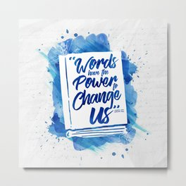 Words Have Power - Blue Metal Print