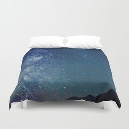 Milky Way Over the Tetons Duvet Cover