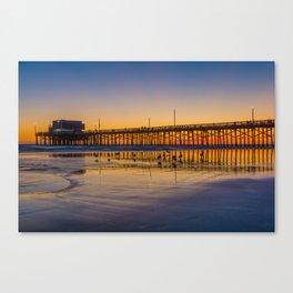Seagulls at Sunset at Newport Pier Canvas Print
