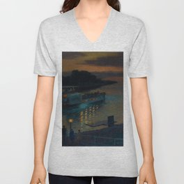 A Nightly River Cruise, Mississippi River by Ernst Max Pietschmann Unisex V-Neck