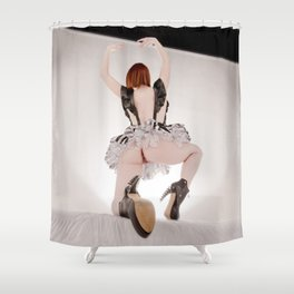 0950s-MM Exposed On One Knee Black Funky Leather Boots Short BW Lace Skirt Shower Curtain