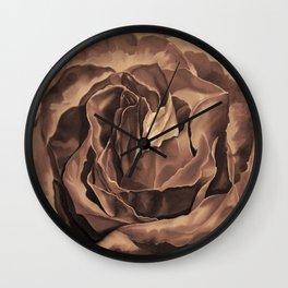 Brown Nicotine Pastel Rose Wall Clock