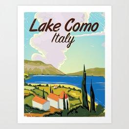 Lake Como Italian vintage travel poster print Art Print