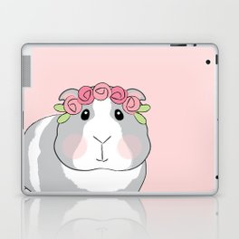 Adorable Grey Guinea Pig with Pink Rosebuds Laptop & iPad Skin