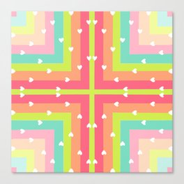 Spring Pastel Squares with Little White Hearts Pop Art Canvas Print