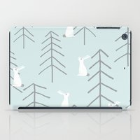 rabbits iPad Cases featuring White rabbits by Dream Of Forest