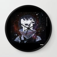 planet of the apes Wall Clocks featuring Meteoric Apes by Tom Bryce
