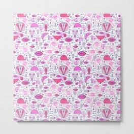 Sea pattern no 2 (pink) Metal Print