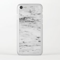 Marble - Black and White Marble Pattern Clear iPhone Case