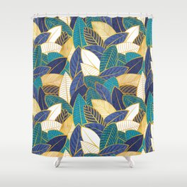 Leaf wall // navy blue royal blue and teal leaves golden lines Shower Curtain