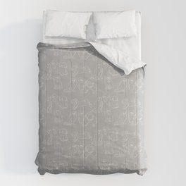 Nordic Chic White Tibbies on Light Grey Minimalist Outline Pattern Comforters