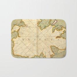 Vintage Map of Antigua (1702) Bath Mat