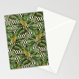 Palms on Checker Parallelogram Pattern - Black White Gold Stationery Cards