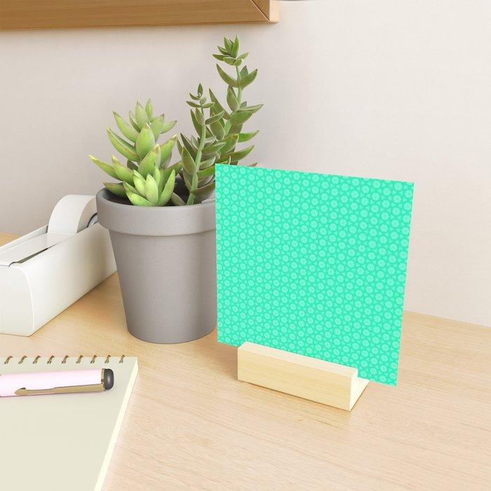 Turquoise and Soft Green Feminine Mini Mandala Kaleidoscope Country Design Pattern Mini Art Print