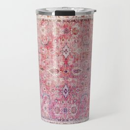 N45 - Pink Vintage Traditional Moroccan Boho & Farmhouse Style Artwork. Travel Mug