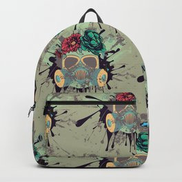 Green Gas Mask with Roses Backpack