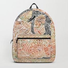 Tribal Paisley Elephant Colorful Henna Floral Pattern Backpack