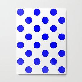 Large Polka Dots - Blue on White Metal Print