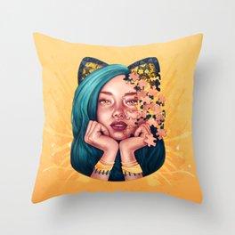 Puzzle Cat Girl Throw Pillow
