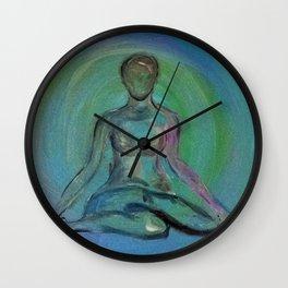 Contentment through Yoga Wall Clock