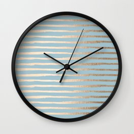 Abstract Stripes Gold Tropical Ocean Sea Blue Wall Clock
