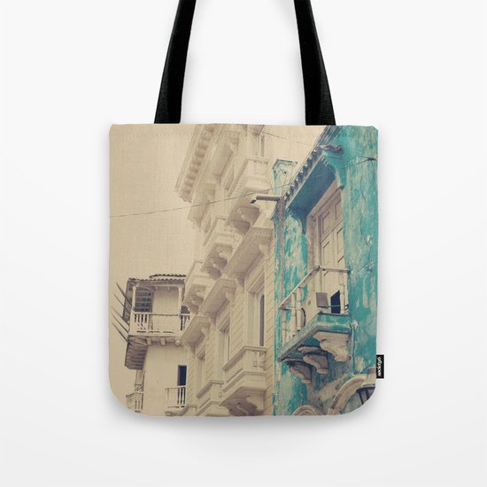Grunge Summer Town (Retro and Vintage Urban, architecture photography, blue and cream) Tote Bag