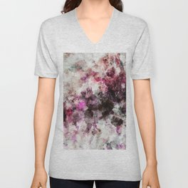 Modern Abstract Painting in Purple and Pink Tones Unisex V-Neck