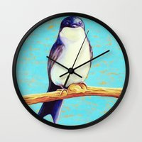 swallow Wall Clocks featuring Swallow by Pincay